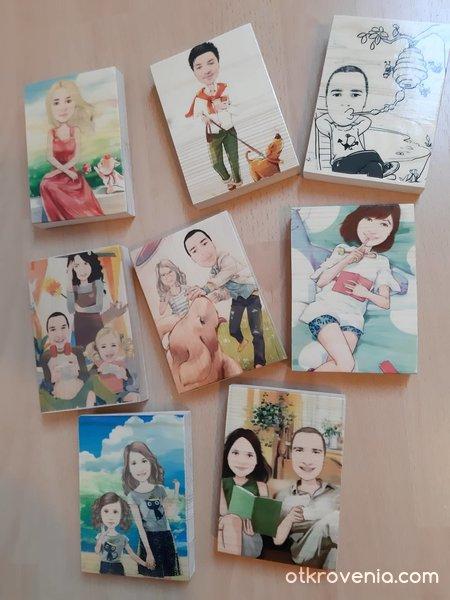 Карикатури / Снимки върху дърво