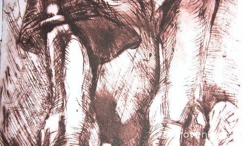 Композиция с ръце и крака-техника суха игла