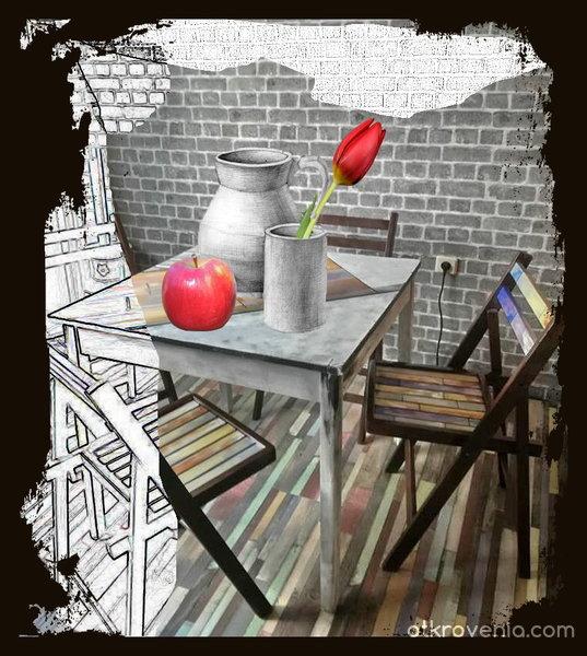 Натюрморт с ябълка, лале и контакт