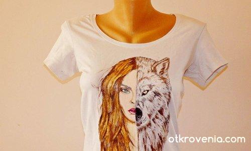 """""""Жената-вълчица"""" - ръчно рисувана тениска"""