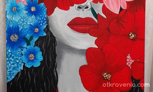 Ръчно рисувана живопис – Жена скрита зад цветята