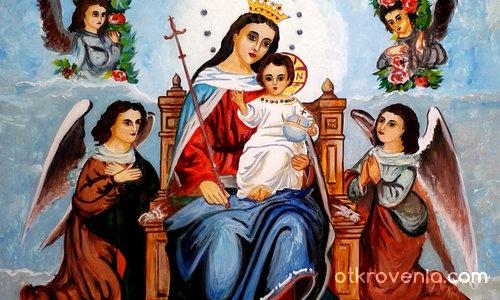 Пресвета Богородица  и Иисус на трона с ангели