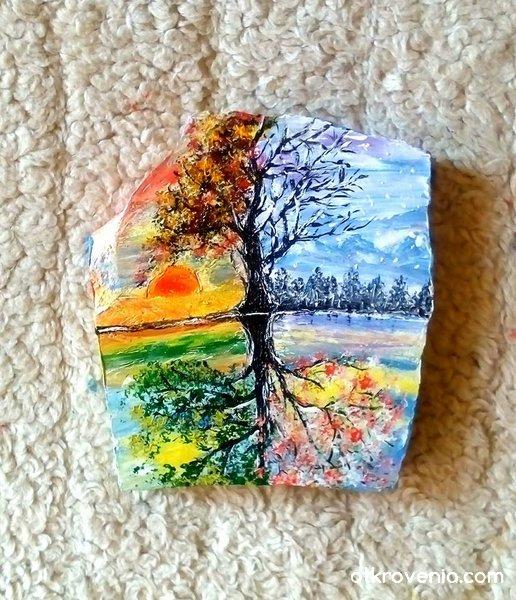 """Сезоните на душата"". Рисуван мрамор."
