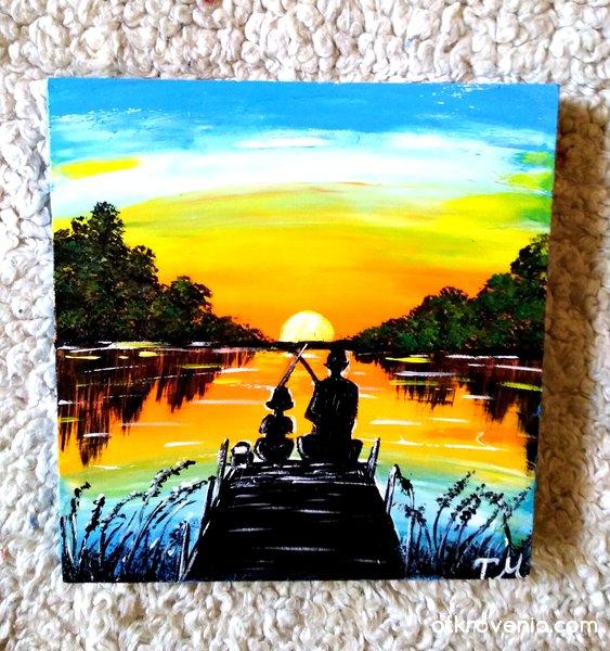 """""""На риболов с тате"""". Рисуван мрамор - 17/18 см."""