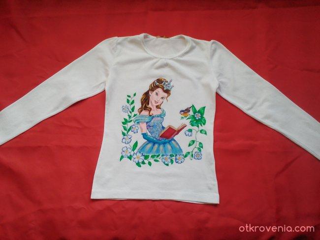 """""""Учената принцеса"""" - ръчно рисувана детска блуза"""