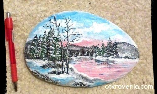 """Рисувани камъчета с акрил """"Коледни нюанси"""""""