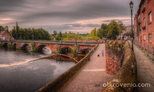 Old Dee Bridge and Bridgegate, Chester, Wales