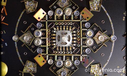 Мандала направена от метални части