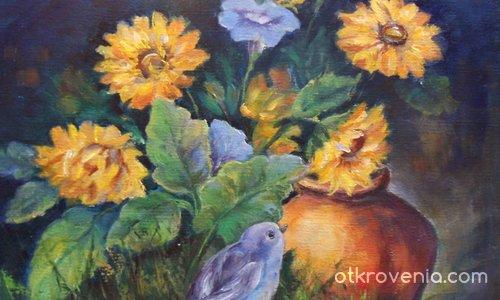 Птичка сред слънчогледи