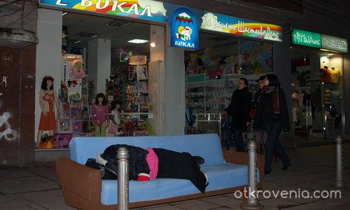 Уличен  хол, и  диван със спящ човек