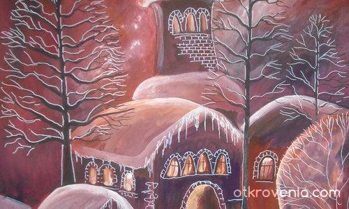 Червен зимен залез