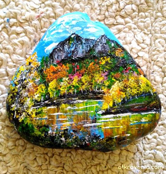 """""""Есен в Родопите"""" - рисуван камък"""