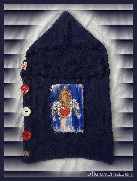 Чувалче за новородено, с качулка и рисуван джоб