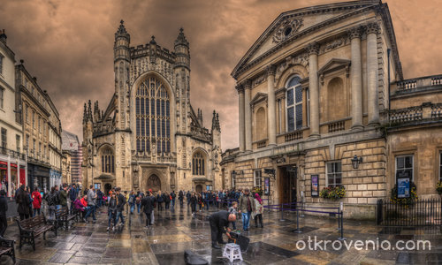 The Cathedral and the Bath in Bath, Somerset