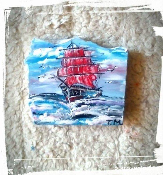 """""""Корабът с алените платна"""". Рисуван мрамор с акрил"""