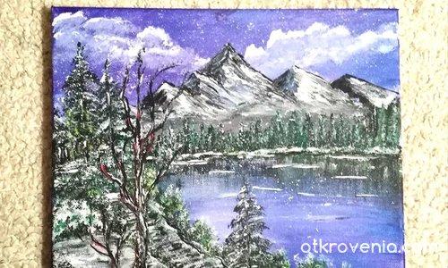 Зимна мечта. Платно рисувано с акрил. 30/30 см.