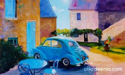 Пейзаж с къщи и автомобил