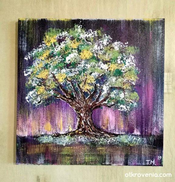 """Живот"""". Платно рисувано с акрилни бои - 40 /40 см."""