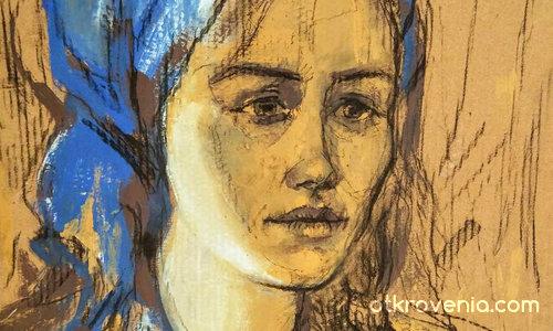 Ескиз - момиче със синя забрадка