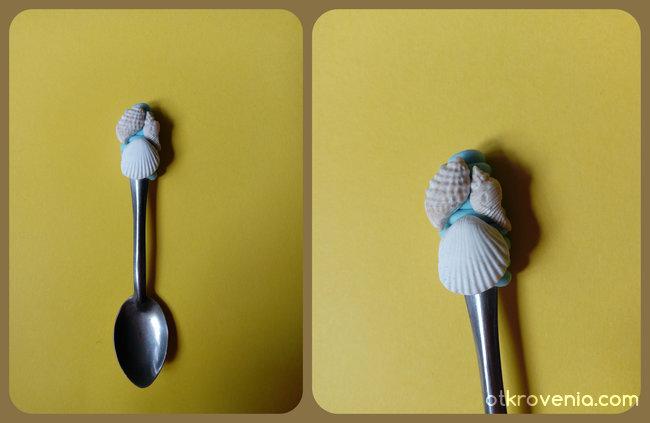 Лъжичка с морска декорация от полимерна глина