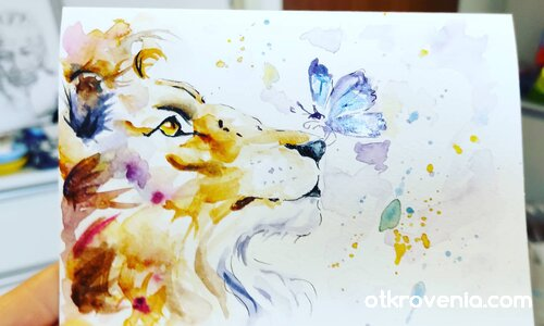 Картичка акварел за една лъвица #2