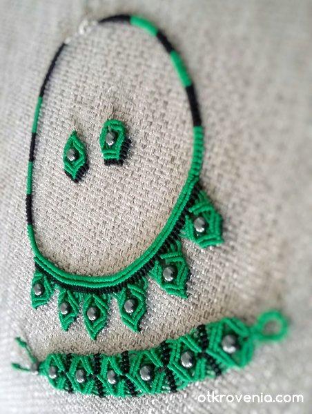 Комплект бижута макраме в зелено и черно