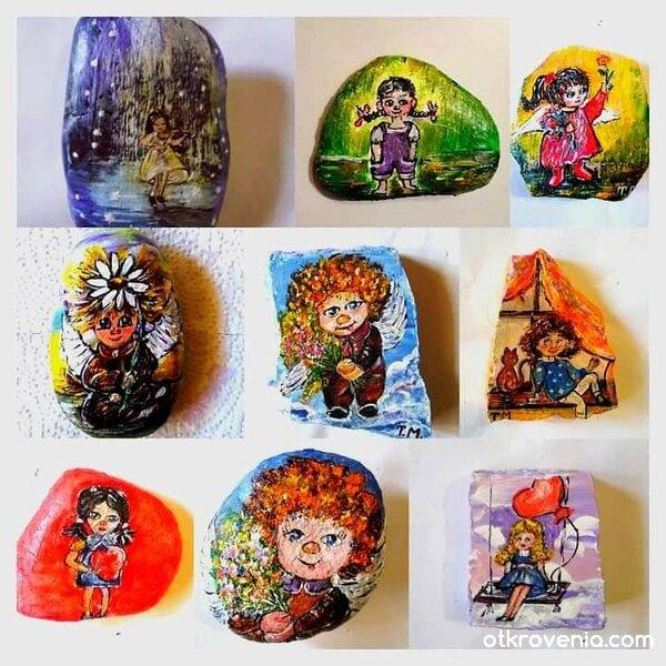 Рисувани човечковци върху камъчета