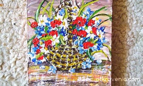 """""""Кошница с цветя"""". Мрамор рисуван с акрил."""