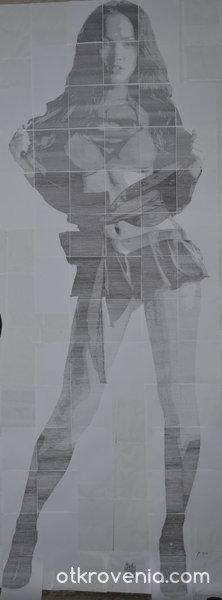 Мегън Фокс - 320см рисунка с пишеща машина