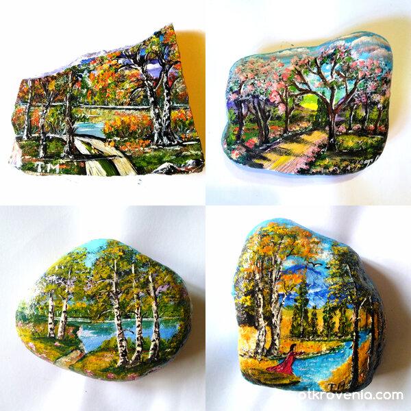 Колаж от рисувани камъчета