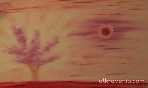 Пейзаж с виолетово дърво