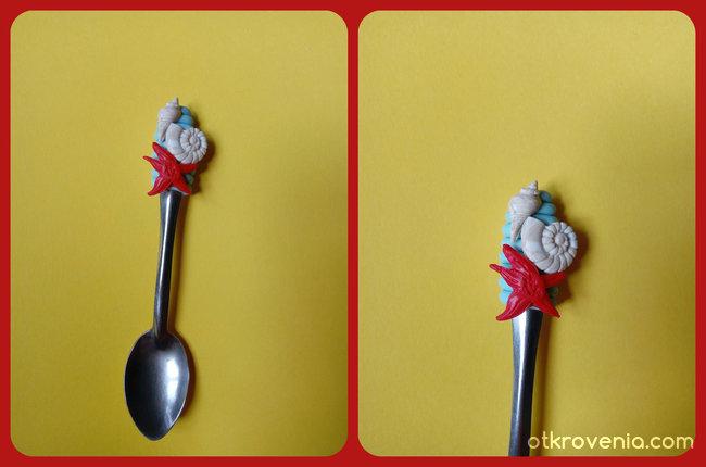 Лъжица с декорация от полимерна глина