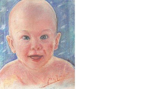Портрет на бебе в синьо