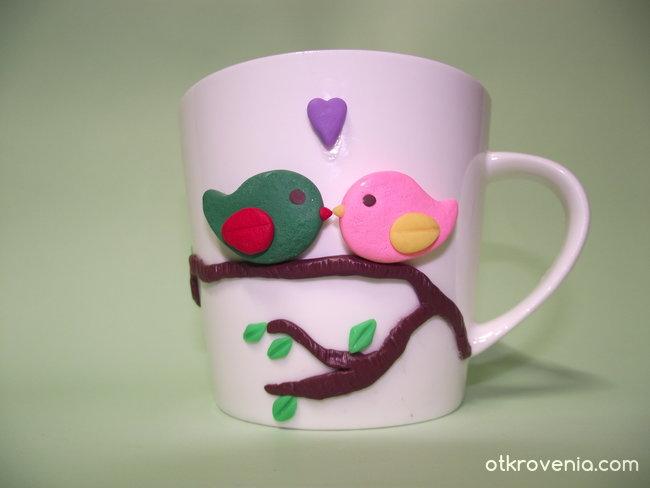 Чаша, украсена с полимерна глина