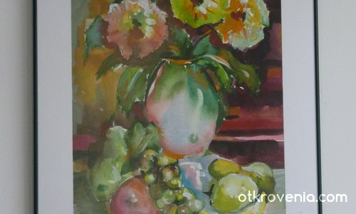 Натюрморт с хризантеми